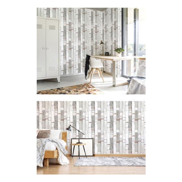 壁紙シール はがせる DIY 張り替え シート お得な6mセット のり付き 壁用 北欧 おしゃれ かわいい リフォーム 輸入壁紙 ヴィンテージ ウッド|wallstickershop|03
