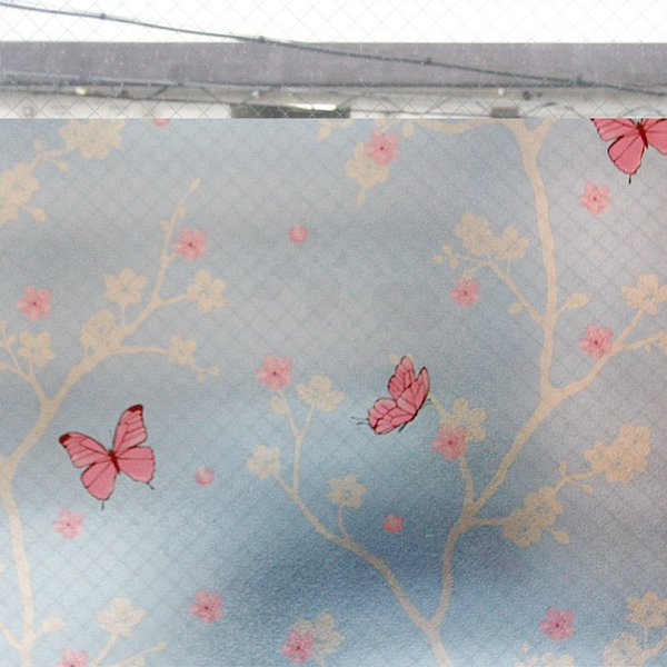 窓ガラス フィルム はがせる 窓 目隠し シート 窓ガラスフィルム 桜と蝶 外から見えない おしゃれ 目隠しフィルム 飛散防止|wallstickershop|05