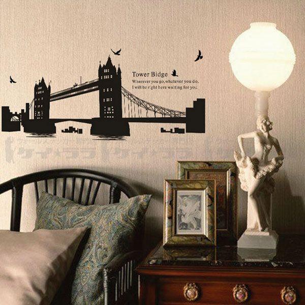 ウォールステッカー 壁 北欧 タワーブリッジ 貼ってはがせる のりつき 壁紙シール ウォールシール ウォールステッカー本舗|wallstickershop|04