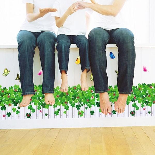 ウォールステッカー 壁 花 花壇 蝶 貼ってはがせる のりつき 壁紙シール ウォールシール 植物 木 花|wallstickershop|02