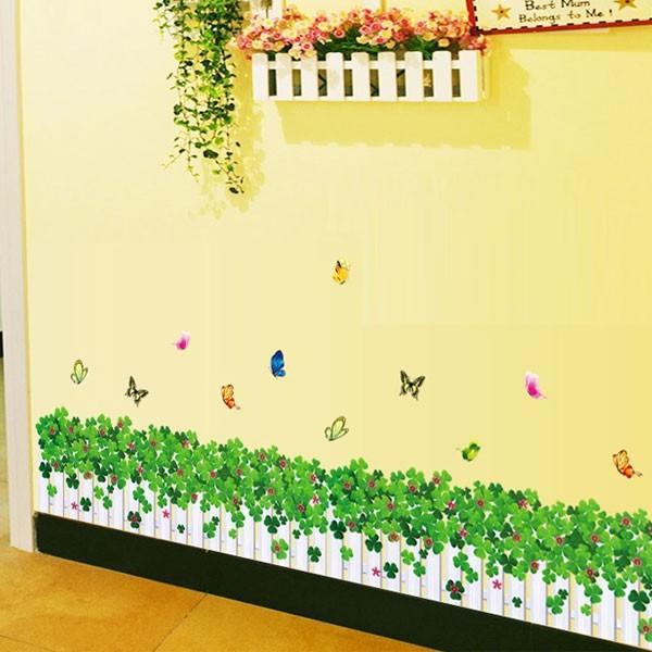 ウォールステッカー 壁 花 花壇 蝶 貼ってはがせる のりつき 壁紙シール ウォールシール 植物 木 花|wallstickershop|04