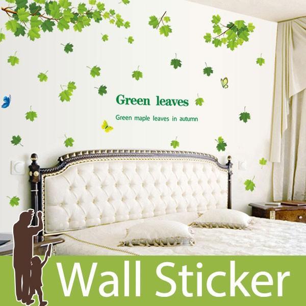 ウォールステッカー 壁 木 葉 蝶 貼ってはがせる のりつき 壁紙シール ウォールシール 植物 木 花|wallstickershop