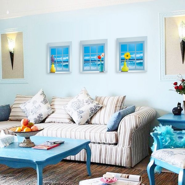 ウォールステッカー木 海の見える小窓 窓型 貼ってはがせる のりつき 壁紙シール ウォールシール|wallstickershop|04