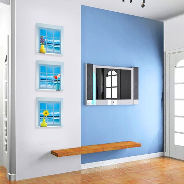 ウォールステッカー木 海の見える小窓 窓型 貼ってはがせる のりつき 壁紙シール ウォールシール|wallstickershop|05