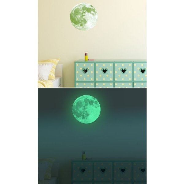 ウォールステッカー 月 蓄光 満月 ムーンライト 暗くなると光る ルミナス 光る ステッカー きれい 子供部屋 リビング インテリア シール y4|wallstickershop|03