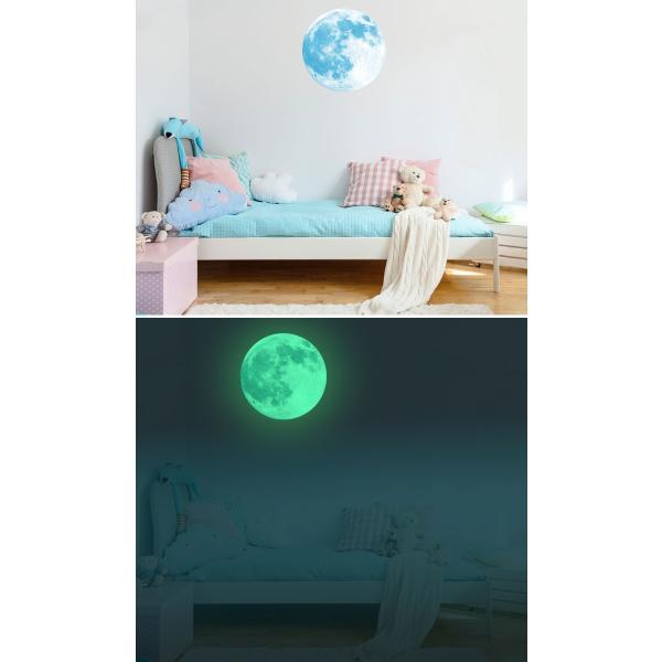 ウォールステッカー 月 蓄光 満月 ムーンライト 暗くなると光る ルミナス 光る ステッカー きれい 子供部屋 リビング インテリア シール y4|wallstickershop|04
