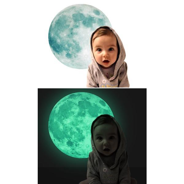ウォールステッカー 月 蓄光 満月 ムーンライト 暗くなると光る ルミナス 光る ステッカー きれい 子供部屋 リビング インテリア シール y4|wallstickershop|06