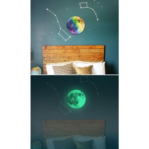 ウォールステッカー 月 蓄光 満月 ムーンライト 暗くなると光る ルミナス 光る ステッカー きれい 子供部屋 リビング インテリア シール y4|wallstickershop|08