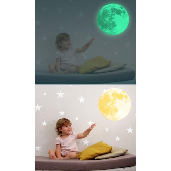 ウォールステッカー 月 蓄光 満月 ムーンライト 暗くなると光る ルミナス 光る ステッカー きれい 子供部屋 リビング インテリア シール y4|wallstickershop|09