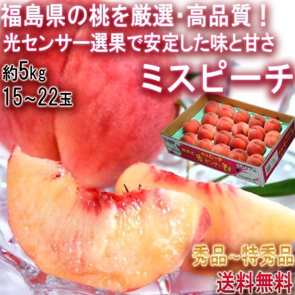 ミスピーチ 桃 約5kg 15〜22玉 福島県産 贈答規格 JA全農ふくしま 高品質な旬のモモをお届け!光センサー選果 ふくしまプライド。体感キャンペーン|wamers