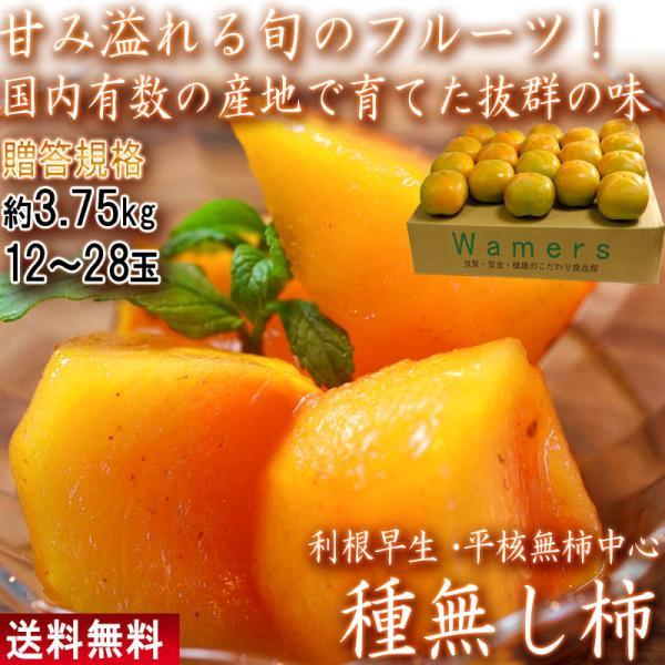たねなし柿 3.75kg 12〜28玉入り 奈良・和歌山県産中心 贈答規格 秀〜優品 甘み豊かな旬のフルーツ 本場のカキ 種無し柿