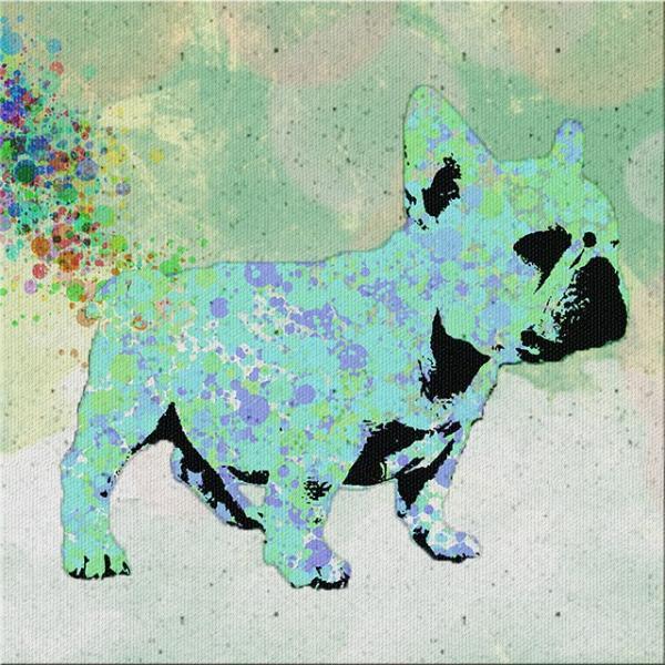 【wag its rainbow tail】 フレンチブルドッグ Sサイズ ワンにゃんアートキャンバス Mizutama series (絵画/アートパネル/犬)|wan-nyan-gallery|04