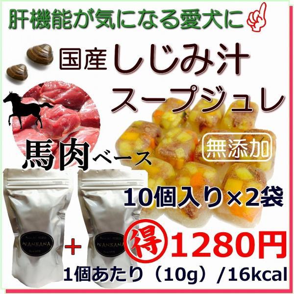 犬用 スープ 手作り 無添加 手作り食 しじみ 馬肉 スープジュレ 20個入り 10個 2袋 セット トッピング 肝臓 数値 フード 6480円以上 送料無料 WANBANA ワンバナ|wanbana