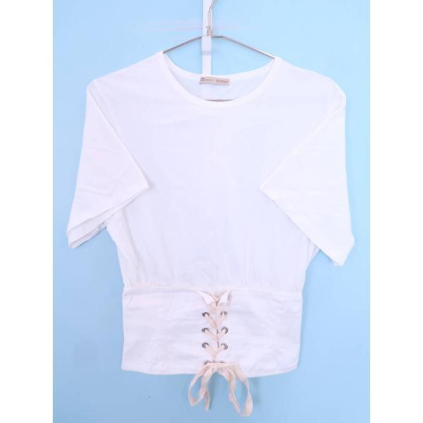 ZARA(ザラ)コルセットTシャツ 半袖 白 レディース Aランク M