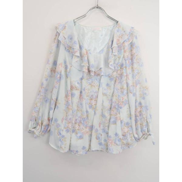 LIZ LISA(リズリサ)袖リボン花柄裾レースシフォンブラウス 長袖 青 レディース Sランク 0|wanboo