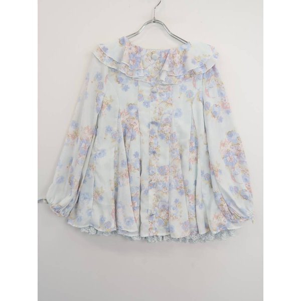 LIZ LISA(リズリサ)袖リボン花柄裾レースシフォンブラウス 長袖 青 レディース Sランク 0|wanboo|02