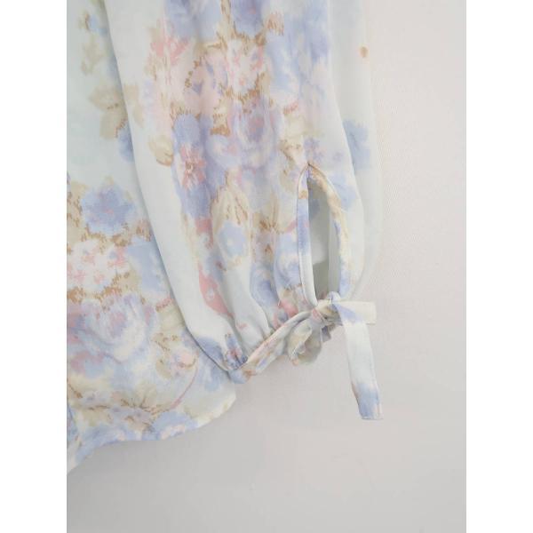 LIZ LISA(リズリサ)袖リボン花柄裾レースシフォンブラウス 長袖 青 レディース Sランク 0|wanboo|03