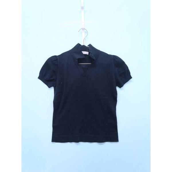 BARNEYS NEW YORK(バーニーズニューヨーク)ニットスキッパーポロシャツ 半袖 紺 レディース A-ランク|wanboo