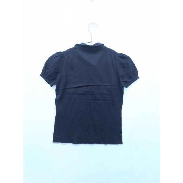 BARNEYS NEW YORK(バーニーズニューヨーク)ニットスキッパーポロシャツ 半袖 紺 レディース A-ランク|wanboo|02