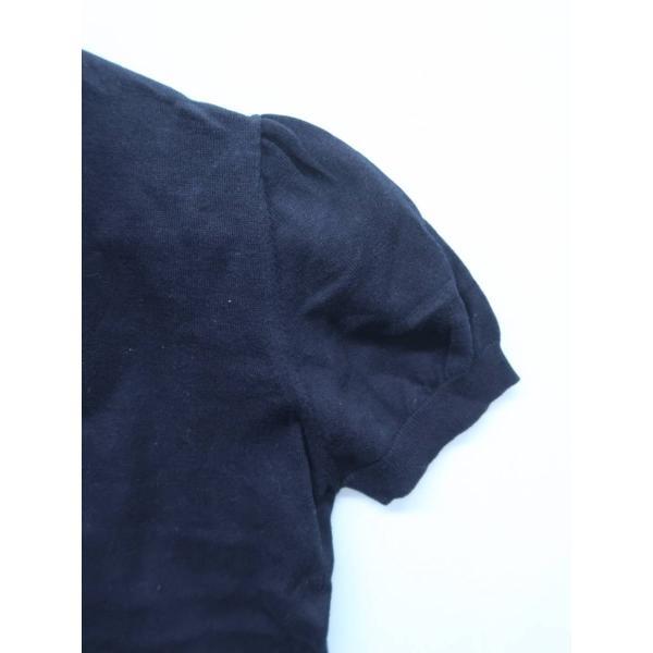 BARNEYS NEW YORK(バーニーズニューヨーク)ニットスキッパーポロシャツ 半袖 紺 レディース A-ランク|wanboo|03