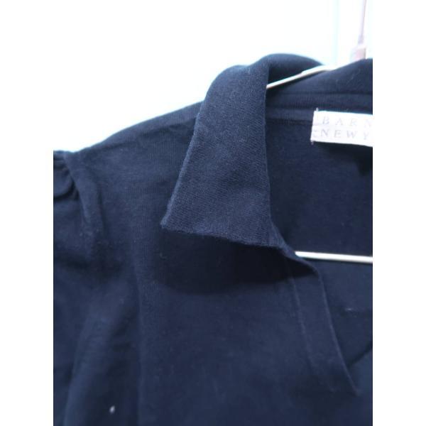 BARNEYS NEW YORK(バーニーズニューヨーク)ニットスキッパーポロシャツ 半袖 紺 レディース A-ランク|wanboo|04