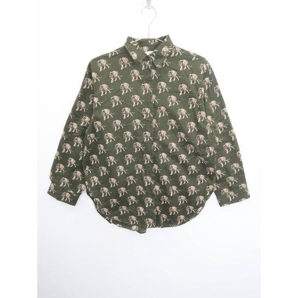 ZARA(ザラ)アニマル柄シャツ 長袖 緑 レディース Aランク XS