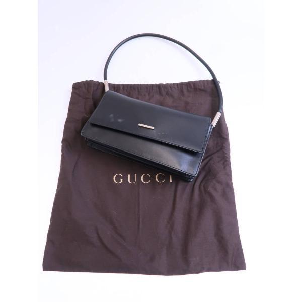 9ca8c64e73e6 GUCCI(グッチ)レザーショルダーバッグ 0013815 黒 レディース Bランクの画像