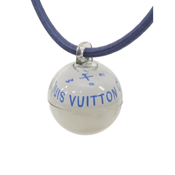 LOUISVUITTONルイヴィトンカップコンパス方位磁石ネックレスチョーカー白/青レディースAランク 倉庫から出荷