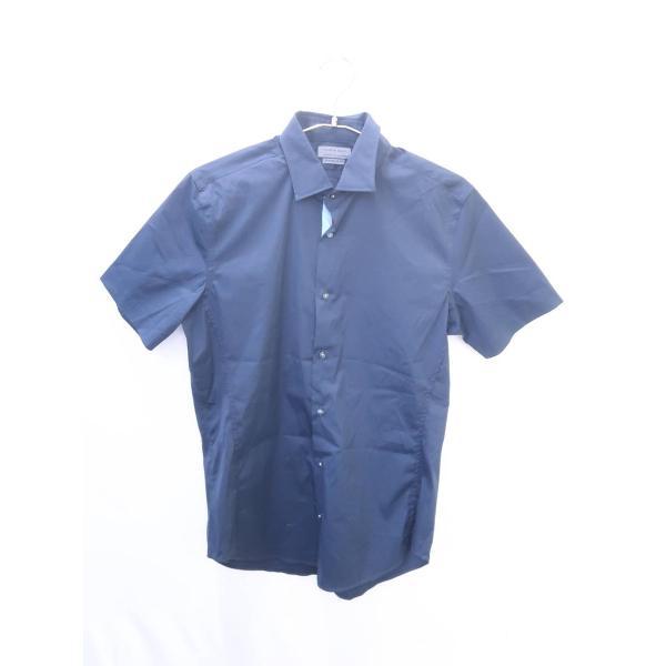 ZARA MAN(ザラ)コットンシャツ 半袖 紺 メンズ A-ランク LL