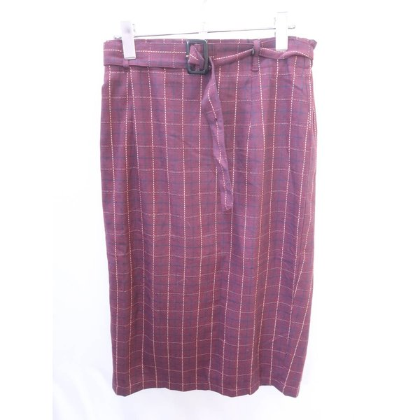 GRL(グレイル)ベルト付チェックタイトスカート 紫 レディース Sランク L