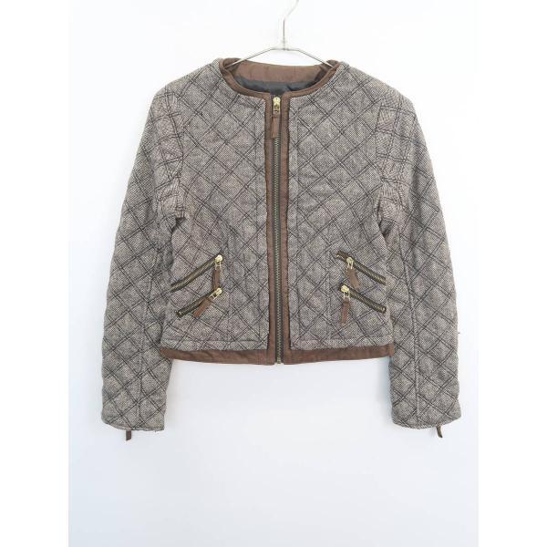 ZARA(ザラ)ノーカラーキルティングジャケット 長袖 茶/白 レディース Sランク XS