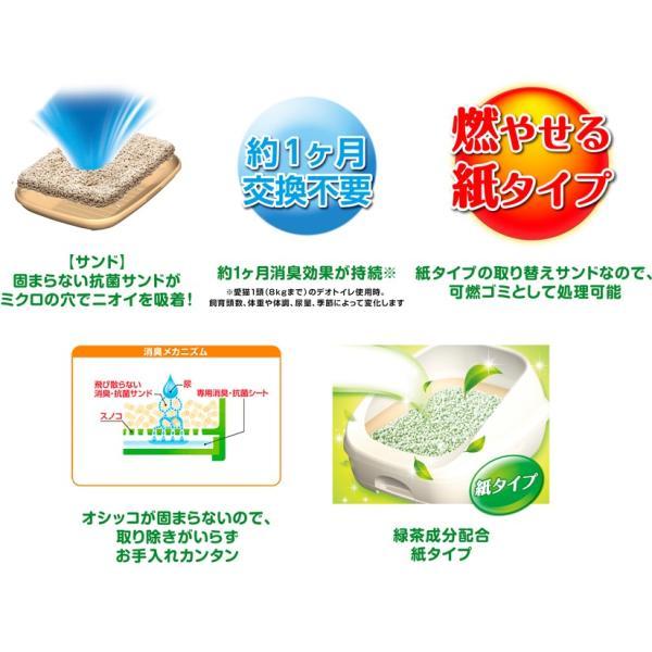 【ケース販売】1週間消臭・抗菌デオトイレ飛び散らない緑茶成分入り消臭サンド 4L×8袋 wannyan-ya 02