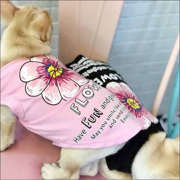 犬 服 タンクトップ 可愛い おしゃれ 小型犬 中型犬 春 夏 秋用 フレブル パグ 花柄  トイプードル ドッグウェア ペアルック お揃い フラワーモチーフ|wanwan-square-garden|04