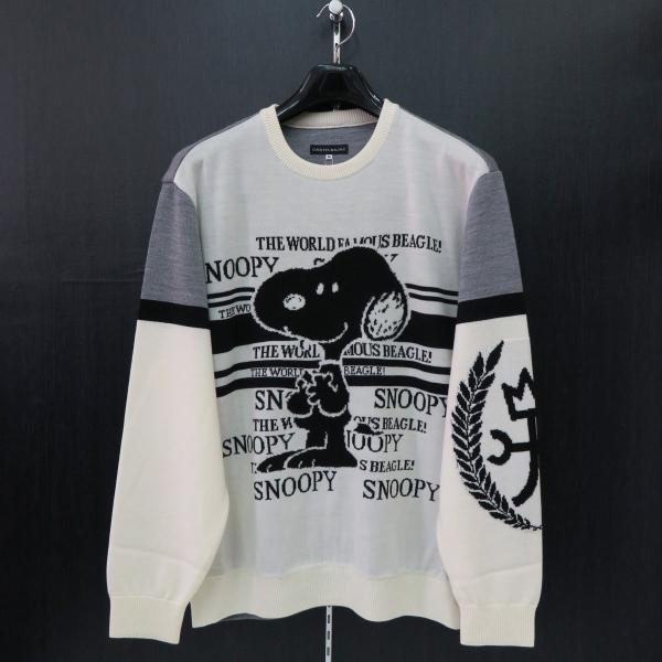 カステルバジャック スヌーピー丸首セーター 白 50サイズ 21480-103-01 castelbajac Snoopy ニット|wanwan