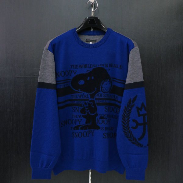 カステルバジャック スヌーピー丸首セーター 青 50サイズ 21480-103-57 castelbajac Snoopy ニット|wanwan