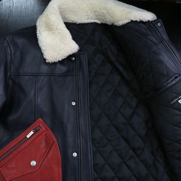 カステルバジャック 本革ブルゾン 紺/赤 50サイズ 21810-128-59 castelbajac|wanwan|06