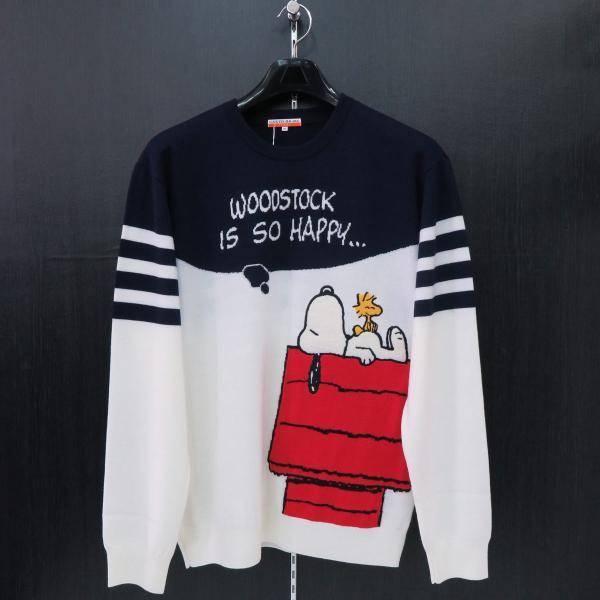 カステルバジャック スヌーピー丸首セーター 白/紺 50サイズ 23480-104-01 castelbajac Snoopy ニット|wanwan
