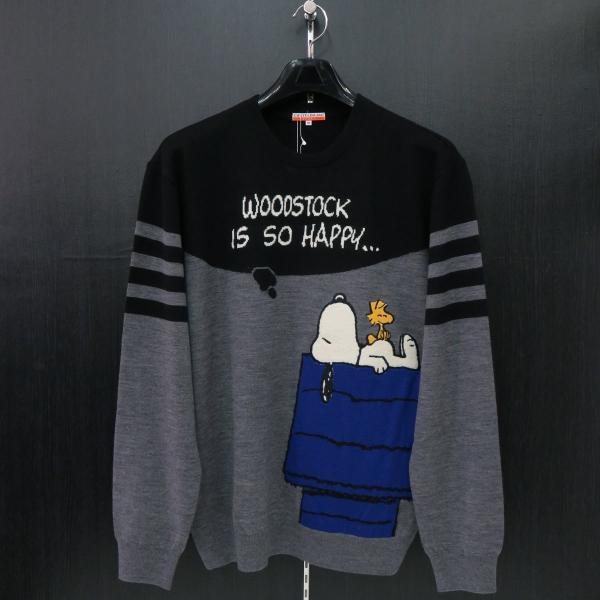 カステルバジャック スヌーピー丸首セーター グレー/黒 50サイズ 23480-104-95 castelbajac Snoopy ニット|wanwan