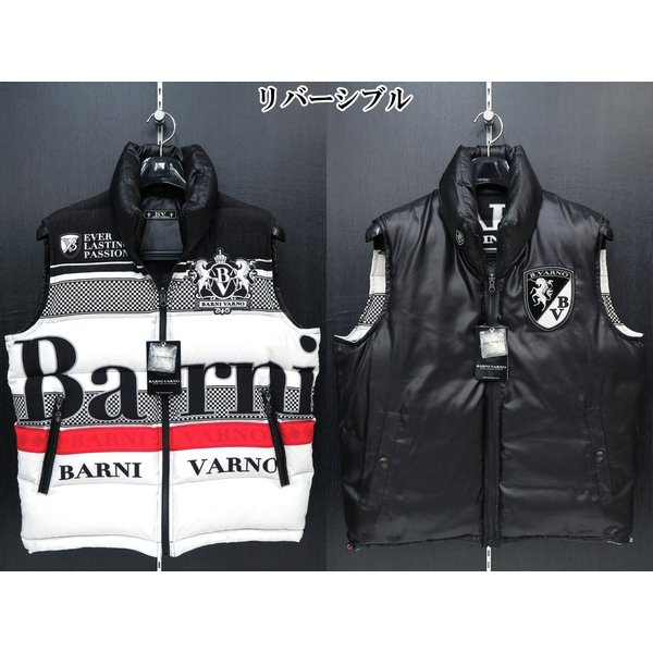 バーニヴァーノ ダウンベスト 黒/白 Lサイズ BAW-GDV2600-05 BARNI VARNO|wanwan