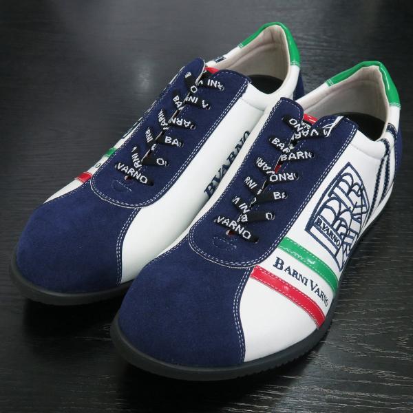 バーニヴァーノ スニーカー 白/紺 BAW-GKS2721-02 BARNI VARNO 靴|wanwan