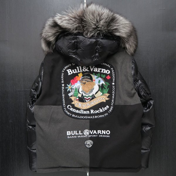 バーニヴァーノ ダウンジャケット Lサイズ 黒 毛皮 BAW-HDB3002-09 BARNI VARNO 新作 wanwan