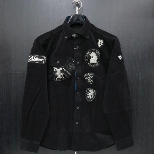 バーニヴァーノ 細コールボタンダウンシャツ 黒 Lサイズ BAW-HSN3060-09 BARNI VARNO|wanwan