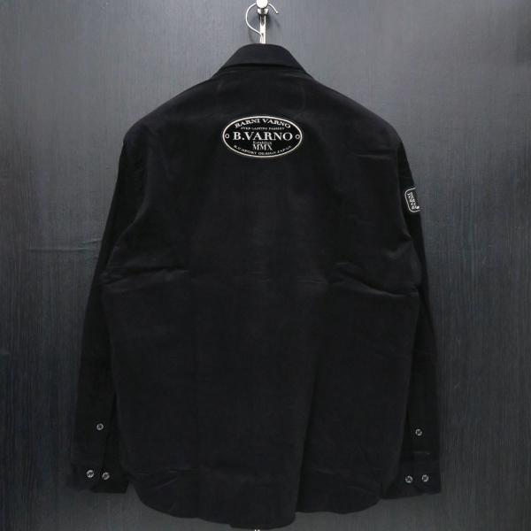 バーニヴァーノ 細コールボタンダウンシャツ 黒 Lサイズ BAW-HSN3060-09 BARNI VARNO|wanwan|02