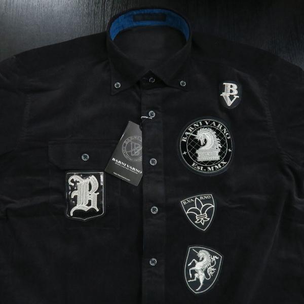 バーニヴァーノ 細コールボタンダウンシャツ 黒 Lサイズ BAW-HSN3060-09 BARNI VARNO|wanwan|03