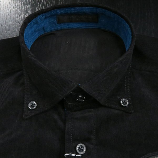 バーニヴァーノ 細コールボタンダウンシャツ 黒 Lサイズ BAW-HSN3060-09 BARNI VARNO|wanwan|04