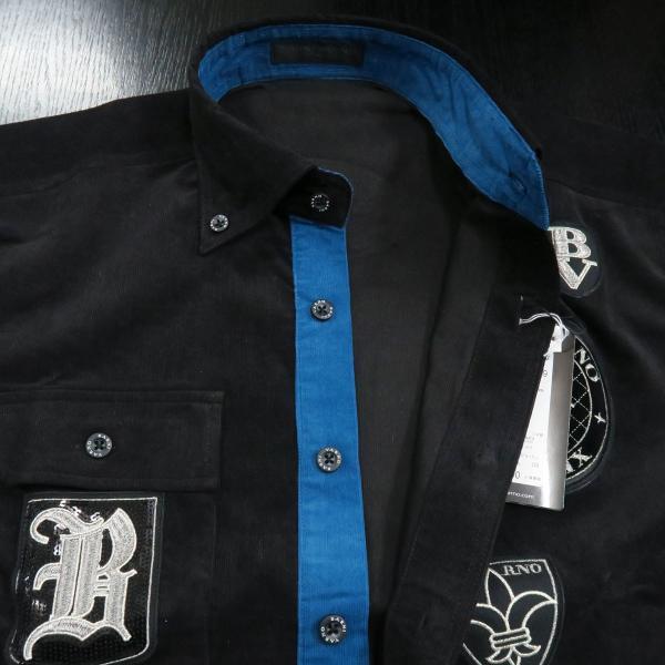 バーニヴァーノ 細コールボタンダウンシャツ 黒 Lサイズ BAW-HSN3060-09 BARNI VARNO|wanwan|08
