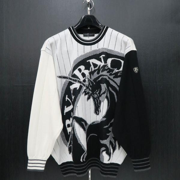 バーニヴァーノ 長袖丸首セーター 白黒 LLサイズ BAW-HSW3013-01 BARNI VARNO wanwan
