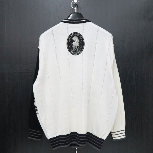 バーニヴァーノ 長袖丸首セーター 白黒 LLサイズ BAW-HSW3013-01 BARNI VARNO wanwan 02