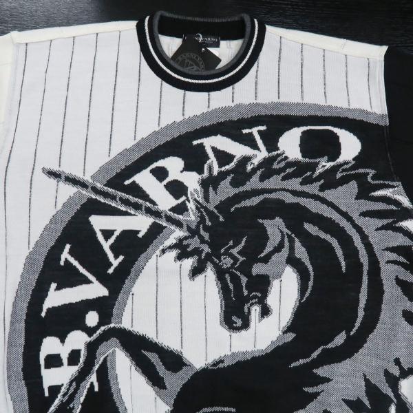 バーニヴァーノ 長袖丸首セーター 白黒 LLサイズ BAW-HSW3013-01 BARNI VARNO wanwan 03