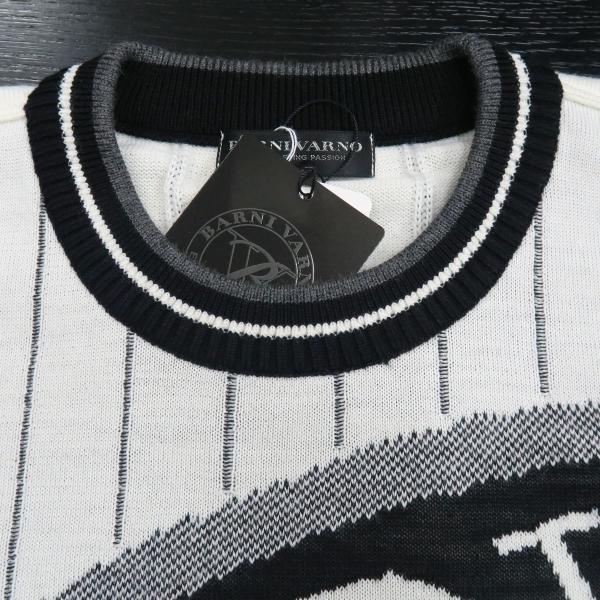バーニヴァーノ 長袖丸首セーター 白黒 LLサイズ BAW-HSW3013-01 BARNI VARNO wanwan 04